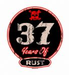 Distressed Aged 37 Years Of Rust Motif For Retro Rat Look VW etc. External Vinyl Car Sticker 100x90mm